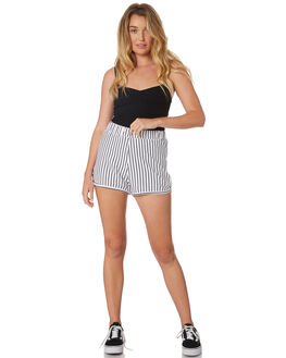 WHITE BLACK STRIPE WOMENS CLOTHING STUSSY SHORTS - ST183600WHBK