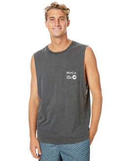 BLACK MENS CLOTHING RVCA SINGLETS - R171015BLK