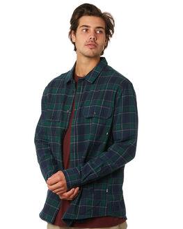 NAVY GREEN PLAID MENS CLOTHING RPM SHIRTS - 9WMT08ANVYGN