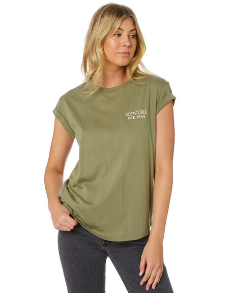 DARK GREEN WOMENS CLOTHING RIP CURL TEES - GTEEM21628