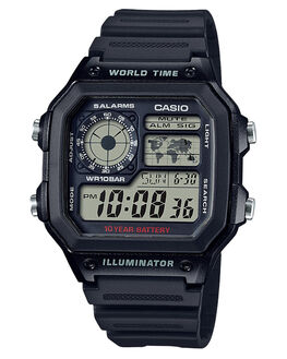 BLACK MENS ACCESSORIES CASIO WATCHES - AE1200WH-1ABLK