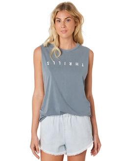 DUSTY  BLUE WOMENS CLOTHING THRILLS SINGLETS - WTR8-113EDBLU