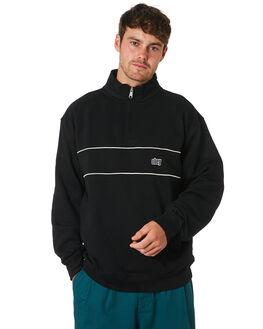 BLACK MULTI MENS CLOTHING OBEY JUMPERS - 111620046BKM
