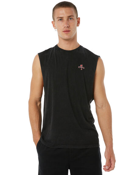 ACID BLACK MENS CLOTHING THRILLS SINGLETS - TA8-112VBABLK