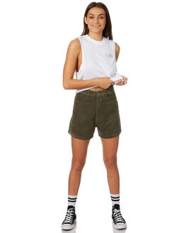 OLIVE WOMENS CLOTHING AFENDS SHORTS - W181301OLIVE