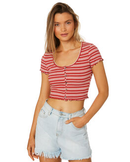 RUST WHITE WOMENS CLOTHING ALL ABOUT EVE TEES - 6426055STR2