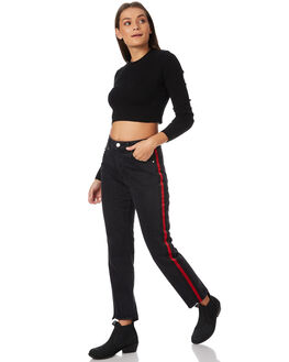 STRIPE BLACK WOMENS CLOTHING NEUW JEANS - 377853825