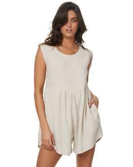 STONE STRIPE LINEN WOMENS CLOTHING SAINT HELENA PLAYSUITS + OVERALLS - SH2A206STNL