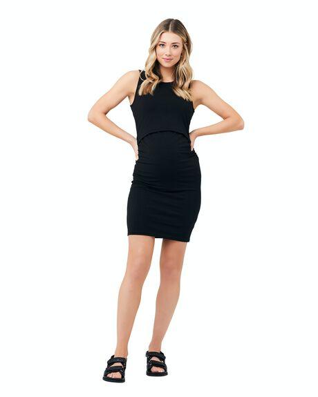 BLACK WOMENS CLOTHING RIPE MATERNITY DRESSES - S1261-BLACK-XS