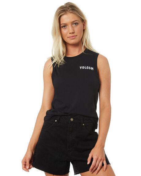 BLACK WOMENS CLOTHING VOLCOM SINGLETS - B3531875BLK