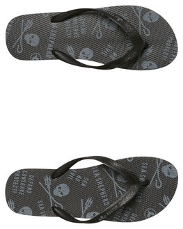 BLACK GREY MENS FOOTWEAR KUSTOM THONGS - 4347106LBKGY