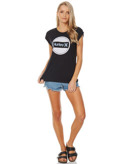 BLACK WOMENS CLOTHING HURLEY TEES - AGTSSPTK00A