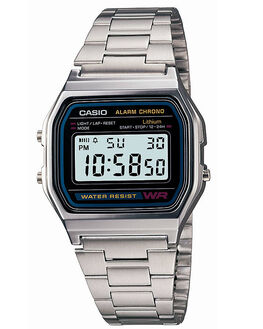 SILVER V MENS ACCESSORIES CASIO WATCHES - A158WA-1SIL