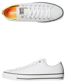 WHITE HYPER ORANGE MENS FOOTWEAR CONVERSE SKATE SHOES - 155516WHI