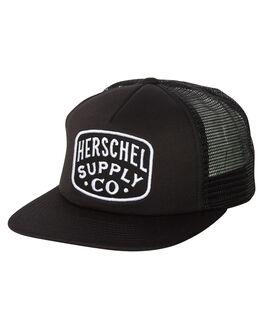 BLACK MENS ACCESSORIES HERSCHEL SUPPLY CO HEADWEAR - 1109-0001-OSBLK