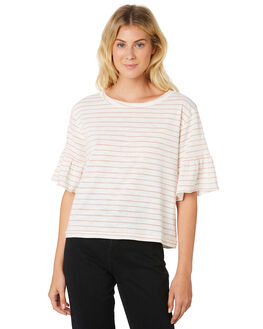 WHITE NATURAL STRIPE OUTLET WOMENS SWELL TEES - S8189003WHNAT