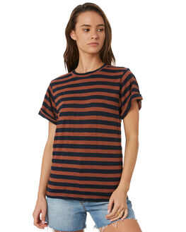 BLACK BROWN STRIPE WOMENS CLOTHING SWELL TEES - S8184002BKBST
