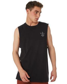 BLACK MENS CLOTHING RVCA SINGLETS - R182012BLK