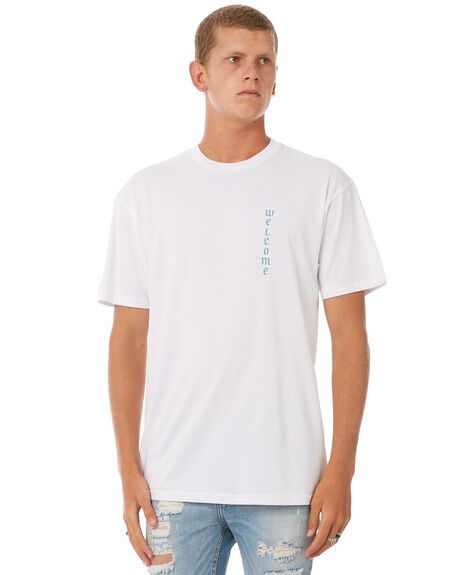 WHITE MENS CLOTHING WELCOME TEES - SOVERWHT