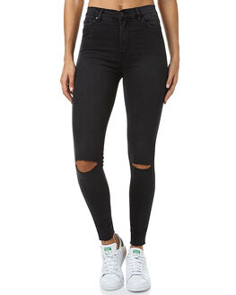 BLACK STONE SLASH WOMENS CLOTHING ZIGGY JEANS - ZW-937BLKST
