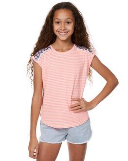 NEON CORAL WHITE KIDS GIRLS EVES SISTER TEES - 9900011NCRL