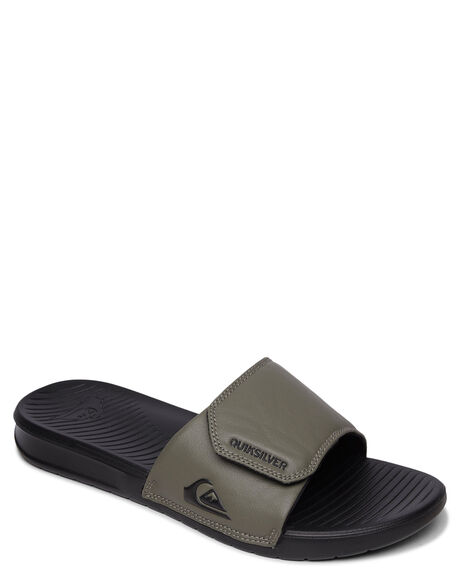 BLACK GREEN BLACK MENS FOOTWEAR QUIKSILVER SLIDES - AQYL100957-XKGK