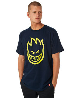 NAVY YELLOW MENS CLOTHING SPITFIRE TEES - BHEADNVYY