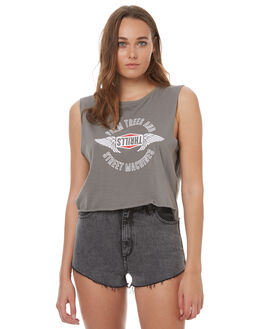 FADED GREY WOMENS CLOTHING THRILLS SINGLETS - WTH7-117GFGRY