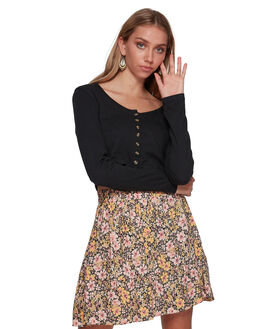 BLACK WOMENS CLOTHING BILLABONG FASHION TOPS - BB-6507134-BLK