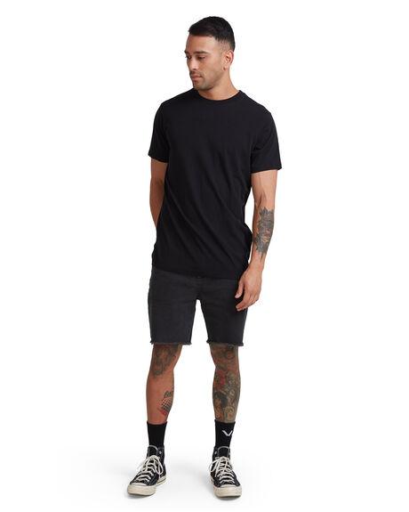 BLACK MENS CLOTHING RVCA TEES - RV-R117067-BLK