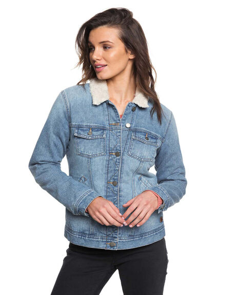 RETRO BLUE WOMENS CLOTHING ROXY JACKETS - ARJJK03031-BKP0