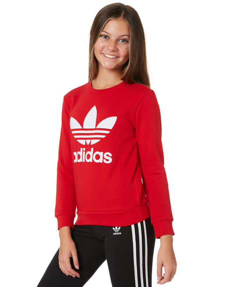 SCARLET WHITE KIDS GIRLS ADIDAS JUMPERS + JACKETS - ED7798SCRWT