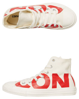 NATURAL ENAMEL RED KIDS BOYS CONVERSE SNEAKERS - 359532NARED
