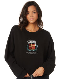 BLACK WOMENS CLOTHING STUSSY JUMPERS - ST197311BLACK