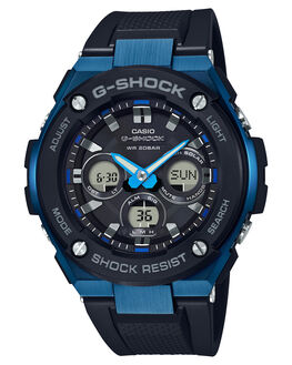 BLACK BLUE MENS ACCESSORIES G SHOCK WATCHES - GSTS300G-1A2BLKBL