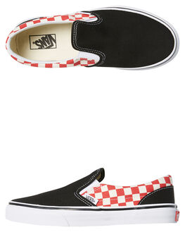 BLACK RED KIDS BOYS VANS SLIP ONS - VNA32QI35UBKRD