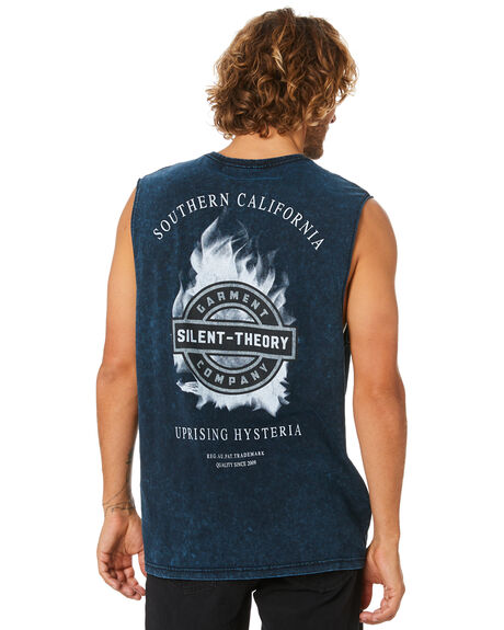 NAVY MENS CLOTHING SILENT THEORY SINGLETS - 4063012NAVY