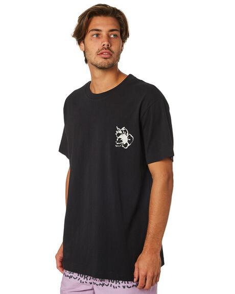 BLACK MENS CLOTHING RVCA TEES - R193044BLK