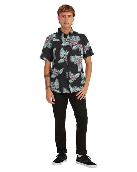 BLACK SONIC FLORAL MENS CLOTHING QUIKSILVER SHIRTS - UQYWT03049-KVJ6