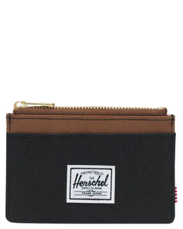 BLACK SADDLE BROWN MENS ACCESSORIES HERSCHEL SUPPLY CO WALLETS - 10397-02462-OSBSB