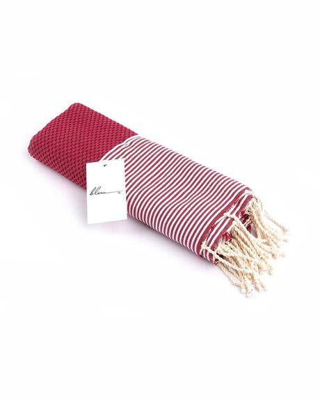RED WOMENS ACCESSORIES BLEM BEACH ACCESSORIES TOWELS - BORDEUXALLR