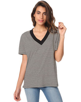 TILLY BLACK STRIPE WOMENS CLOTHING THE BARE ROAD TEES - 6-9-1402--3-15BSTR