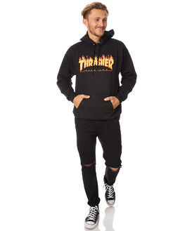BLACK MENS CLOTHING THRASHER JUMPERS - 312007BLK