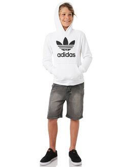 WHITE BLACK KIDS BOYS ADIDAS JUMPERS - DH2667WHTBL