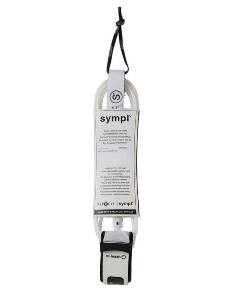 WHITE BOARDSPORTS SURF SYMPL SUPPLY CO LEASHES - YLR-21002-WHT