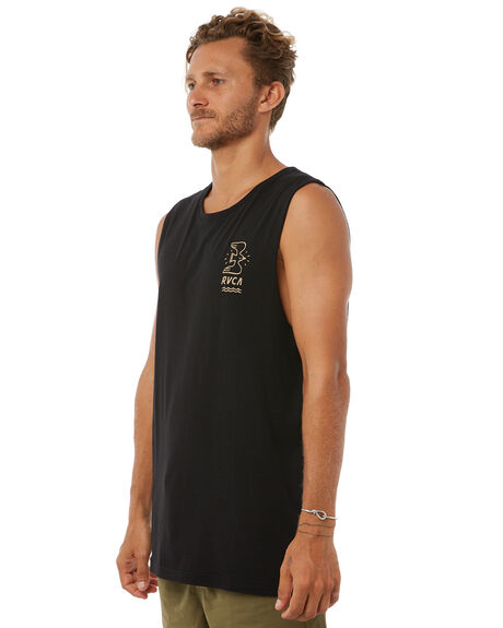 BLACK MENS CLOTHING RVCA SINGLETS - R183005BLK
