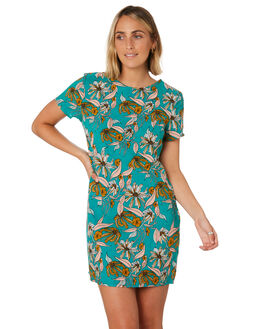 GREEN RETRO FLORAL WOMENS CLOTHING ALL ABOUT EVE DRESSES - 6446146GRNFL