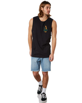 BLACK MENS CLOTHING THE LOBSTER SHANTY SINGLETS - LBSOKEMUSCLEBLACK