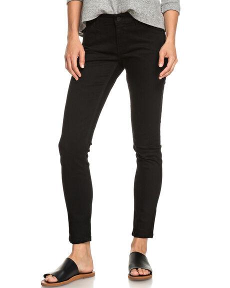 BLACK WOMENS CLOTHING ROXY JEANS - ERJDP03209-KVD0