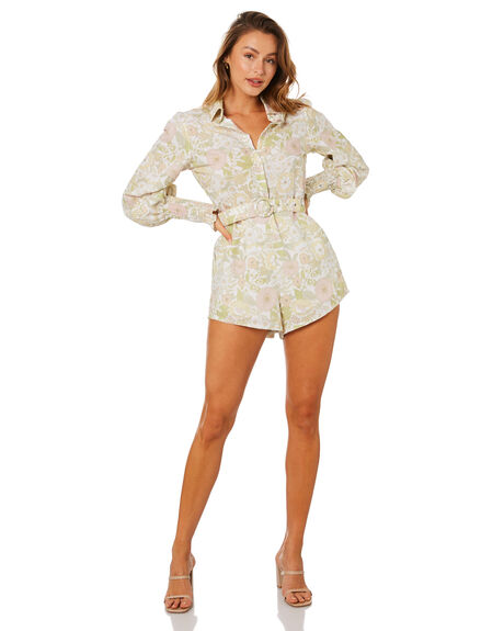 FLORAL FOREST OLIVE WOMENS CLOTHING CHARLIE HOLIDAY PLAYSUITS + OVERALLS - TUW1302_FFO